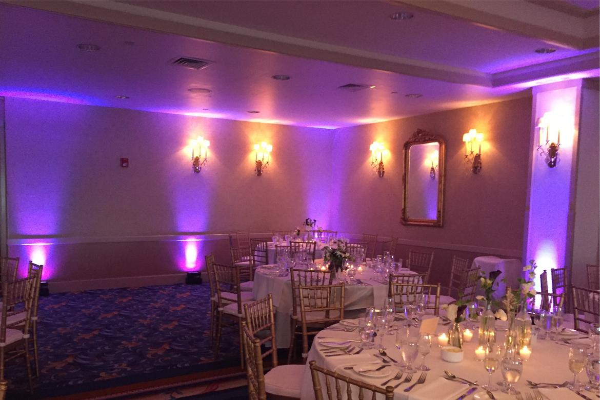 wedding reception up lighting